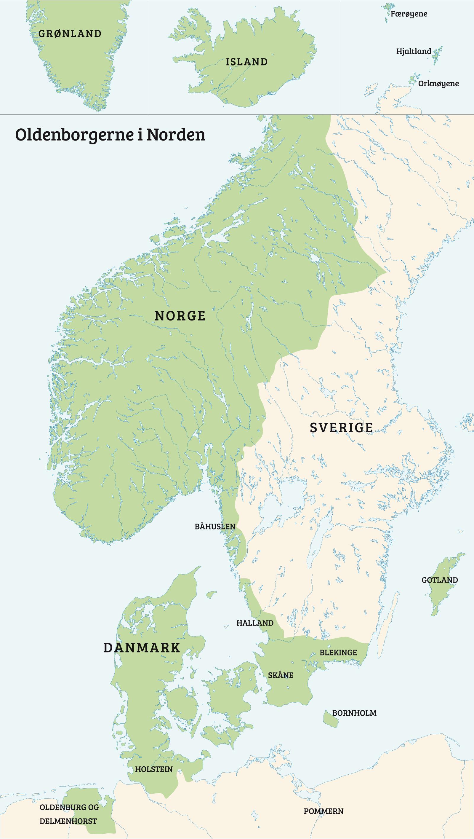 kart danmark norge Det danske adelsveldet i Norge 1536–1660   Norgeshistorie kart danmark norge