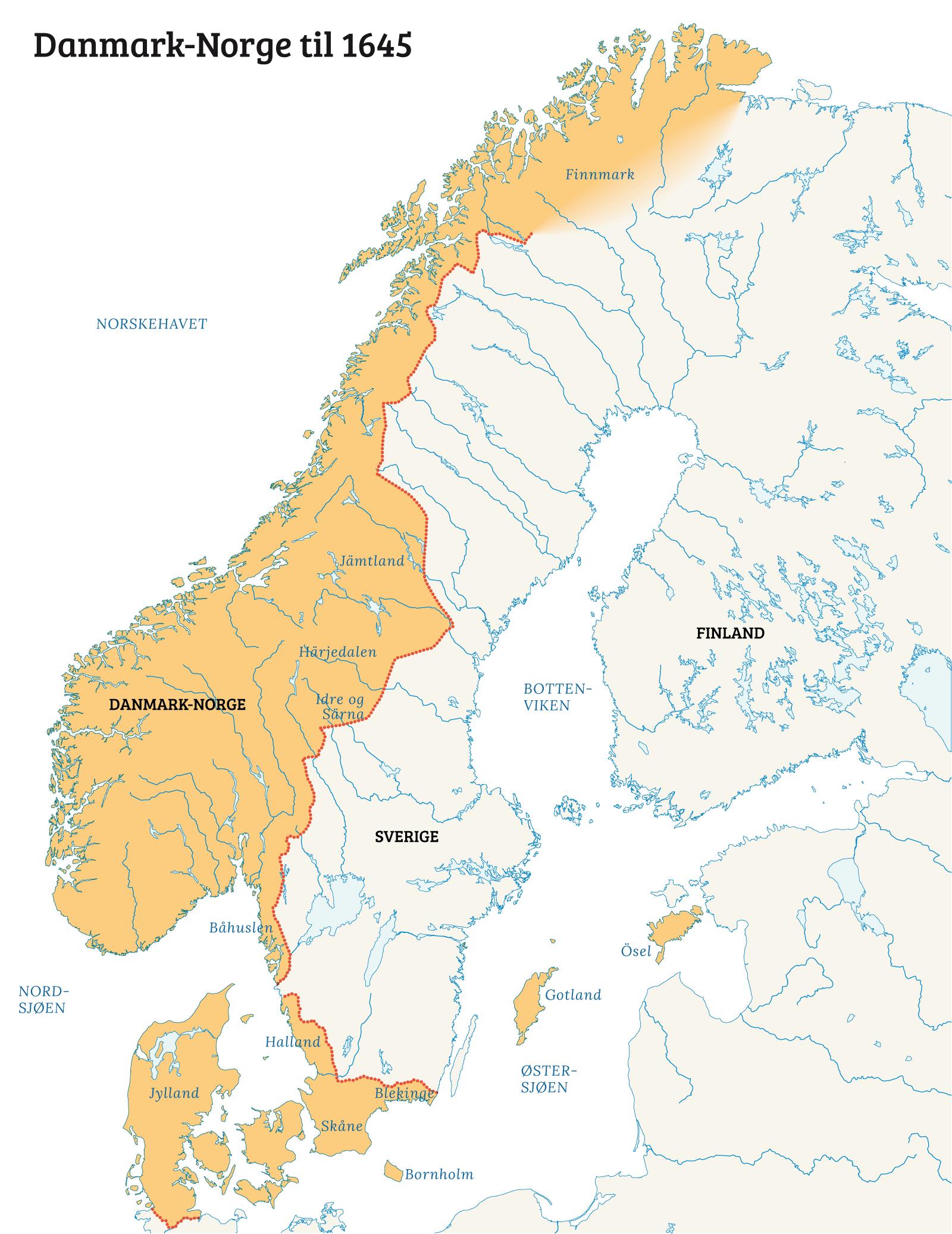 danmark norge kart Den nordiske maktkampen på 1500  og 1600 tallet   Norgeshistorie danmark norge kart