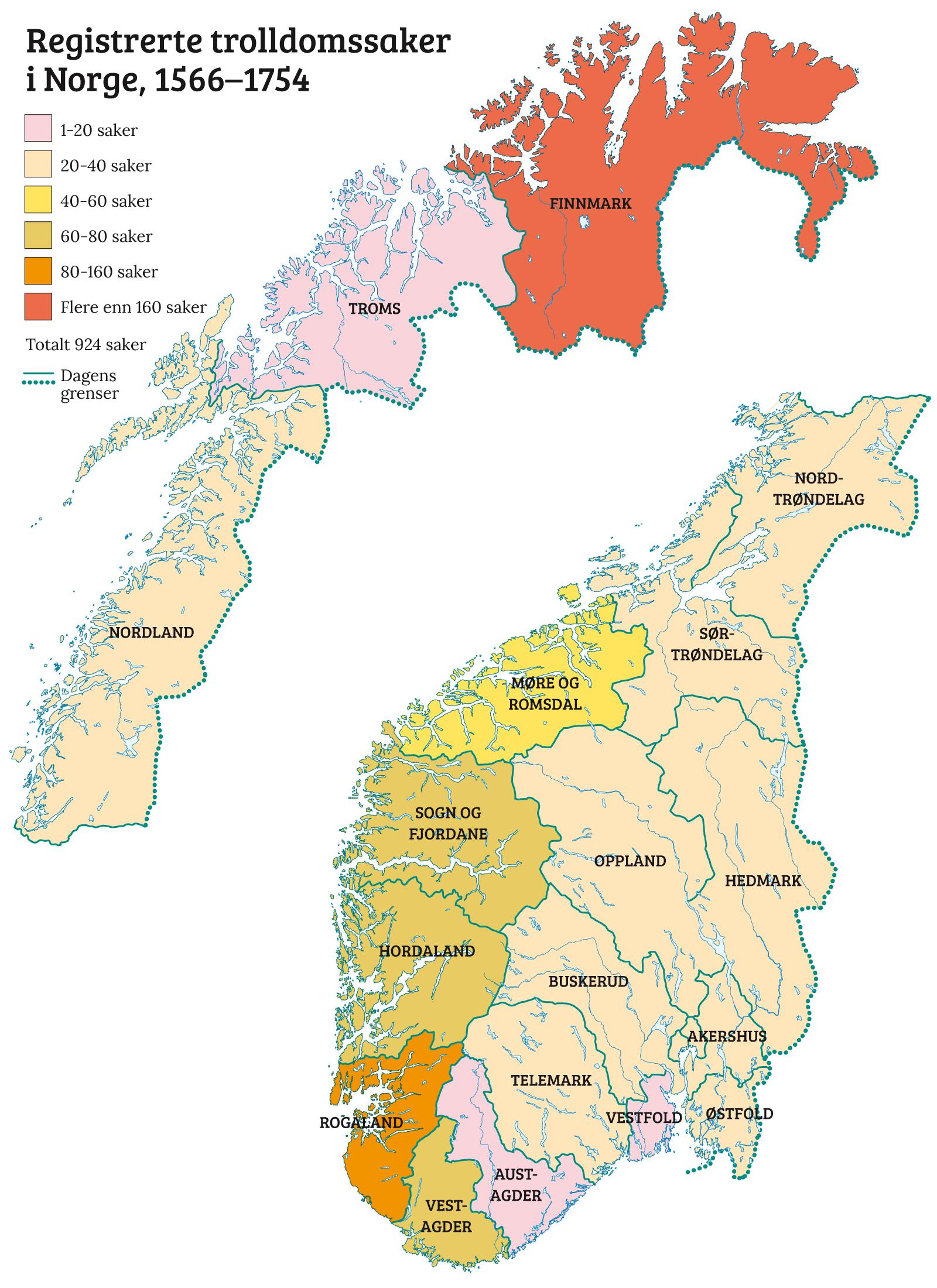 kart i norge Trolldomssakene i Norge   Norgeshistorie kart i norge